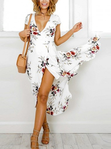 V-Neck Cap Sleeves High Side Slit Floral Printed Maxi Dress
