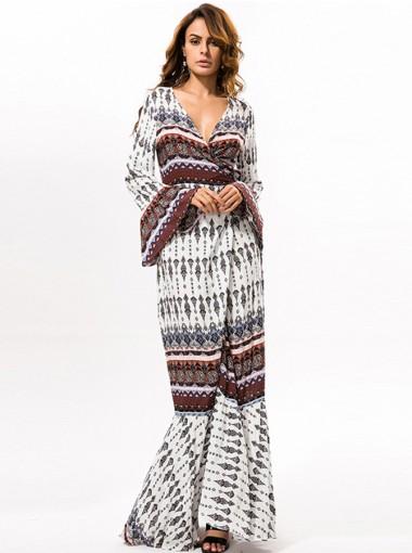 V-Neck Long Sleeves Drawstring Floral Printed Boho Dress
