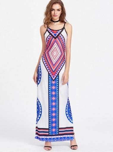 Sexy Spaghetti Open Back White Tribal Print Boho Dress