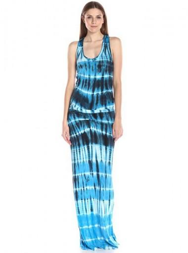 Scoop Neck Sleeveless Blue Tunic Printed Maxi Dress