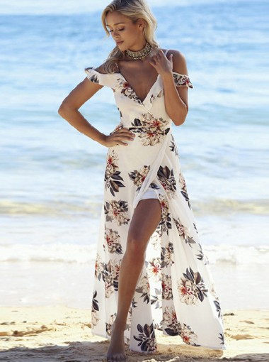 Off-the-Shoulder V-Back White Floral Printed Maxi Dress