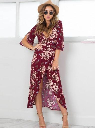 Deep V-Neck Half Sleeves Burgundy Floral Printed Boho Dress