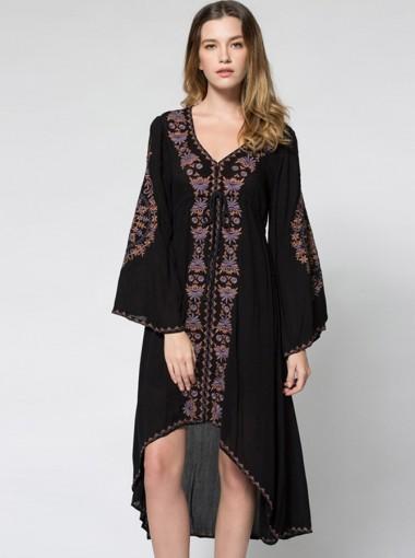 Plunging Neck Flare Sleeve Asymmetrical Embroidery Boho Dress