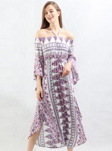 Halter Flare Sleeves Chiffon Tribal Printed Boho Dress