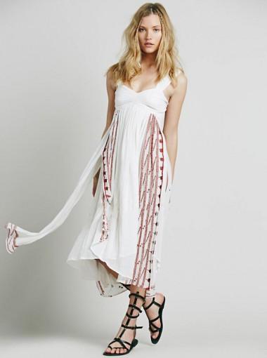 Straps Open Back Side Slit Embroidery White Boho Dress
