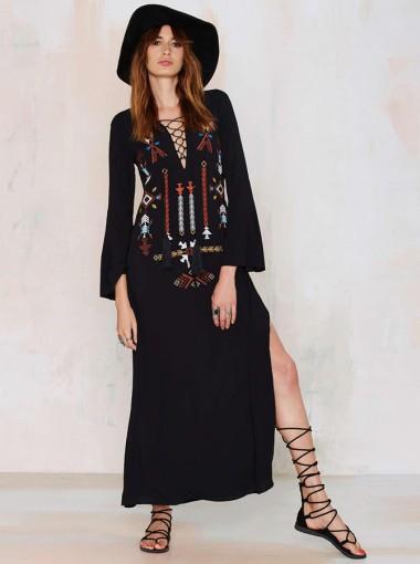 V-Neck 3/4 Sleeves Slit Embroidery Black Boho Maxi Dress