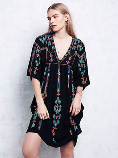V- Neck Half Sleeves Embroidery Black Tunic Boho Dress