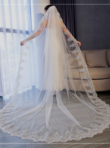One-tier 3m Cathedral Bridal Veils with Lace Applique Edge