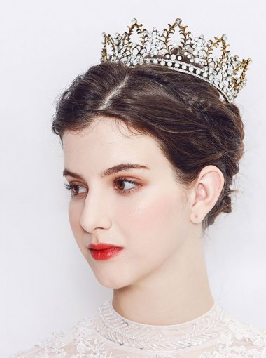 Baroque Stylish Gold Alloy Crown With Crystal