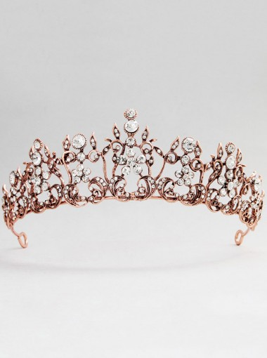 Ladies Beautiful Rose Gold Alloy Tiara With Crystal