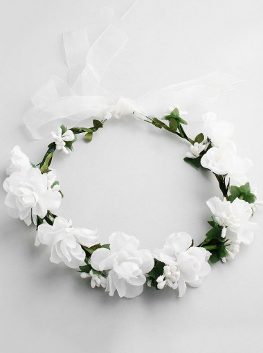 Artificial Flowers Crown White Flower Girl's Head-wear for Beach Wedding
