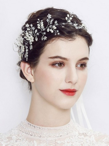 Fashionable Bridal Headpieces with Crystal and Imitation Pearls