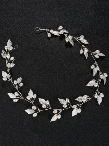 Silver Wedding Accessory Bridal Headbands with Imitation Pearls
