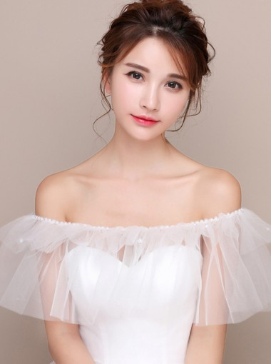 Off-the-Shoulder White Tulle Wedding Wraps with Pearls