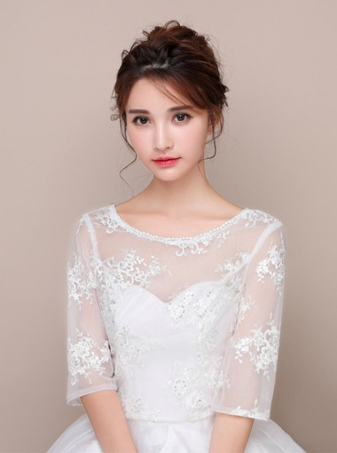 Half Sleeves Round Neck White Wedding Wraps