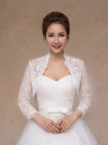 Long Sleeves White Tulle Bolero Wraps with Appliques