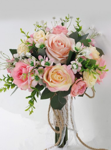 Simple And Elegant Pink Roses Round Bridal Bouquets/Bridesmaid Bouquets