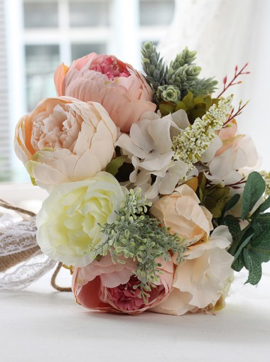 Free-Form Multi-Color Peonies Bridesmaid Bouquets