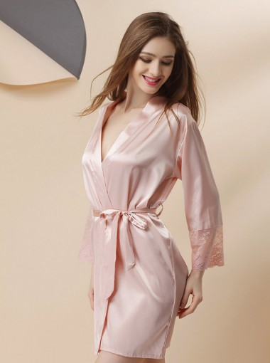 Bride Bridesmaid Long Sleeves Pink Robes with Lace
