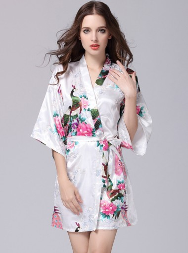Bride Bridesmaid Floral White Satin Kimono Robes