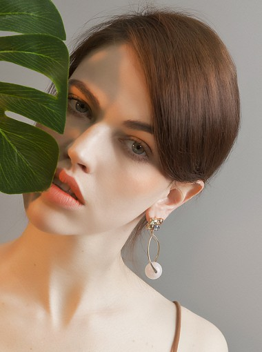 Gold Plated Alloy Earring with Crystal Imitation Pearls