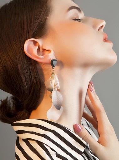 Luxury Long Flower Shape Resin Tassels Earring