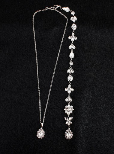 Backdrop Necklace with Crystal Wedding Jewelry Bride Accessories