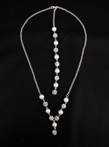 Backdrop Necklace with Imitation Pearls Crystal