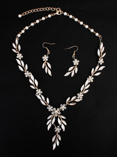 Stylish Gold Alloy Wedding Accessory with Crystal Ladies Jewelry Set (Set of 2)
