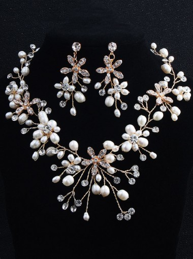 Beatutiful Earring and Necklace Jewelry Set with Imitation Pearls and Crystal (Set of 2)