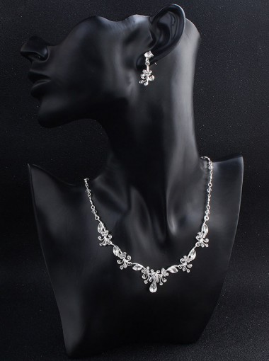 Fashionable Alloy Necklace and Earring Women's Jewelry Sets with Crystal (Set of 2)
