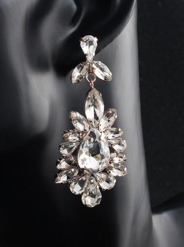 Luxury Chandelier Gold Crystal Drop Earrings