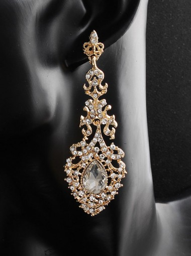 Gold And White Alloy Antique Earrings with Crystal
