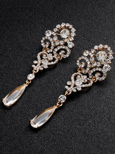 Nice Vintage Bridal Dangle Earring with Crystal