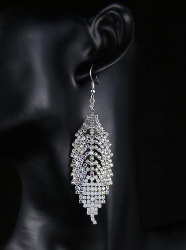 Boho Style Leaf Shape Gold And White Beaded Earrings