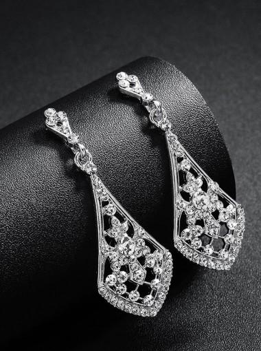 Simple Silver Crystal Drop Earrings with Crystal