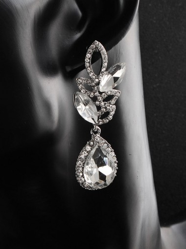 Stylish Silver Crystal Drop Earrings for Women