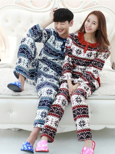 Snow Printed Flannel Long Sleeves Couple Pajamas