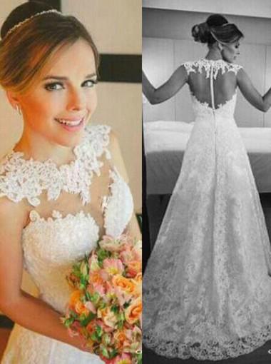 Gorgeous A-line Floor-length Lace Zipper-up Wedding Dress