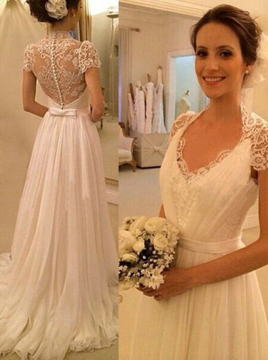 Gorgeous a line v neck cap sleeves lace chiffon wedding for Simple wedding dresses for small wedding