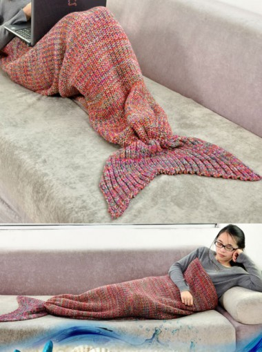 Super Soft Hand Crocheted Red Mermaid Tail Blanket Kintting Blanket Adult