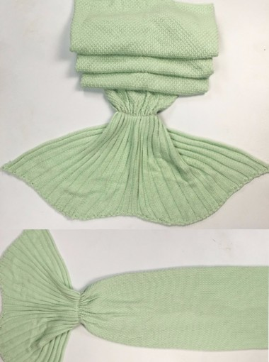 Fashion Knitted Acrylic Stripes Mermaid Tail Blanket Sofa Blanket (6 Colours)