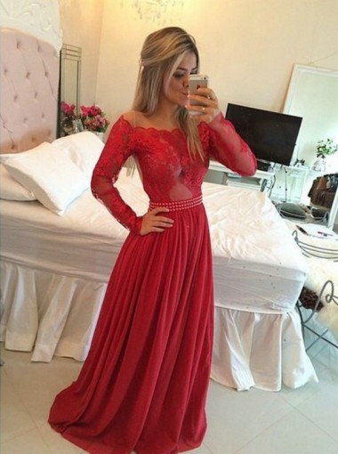 A-line Long Illusion Sleeves Beading Prom Dress - Red Chiffon Evening Dress