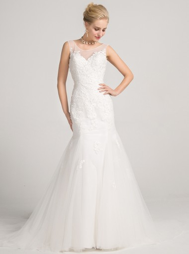Mermaid Bateau Backless Court Train Tulle Wedding Dress with Appliques