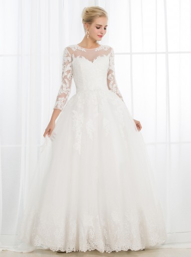Ball Gown Bateau 3/4 Sleeves Open Back Tulle Appliques Wedding Dress