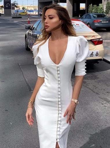 Sheath Elegant White Dress with Sleeves