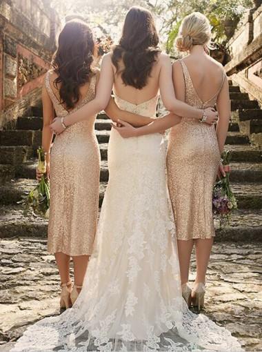 Sexy V-neck Gold Sequins Mid-calf Bridesmaid Dress/Wedding Party Dress