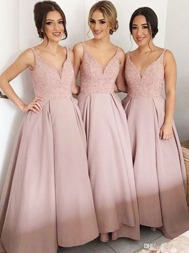 Glamorous V-neck Sleeveless Floor-Length Bridesmaid Dress with Sequins