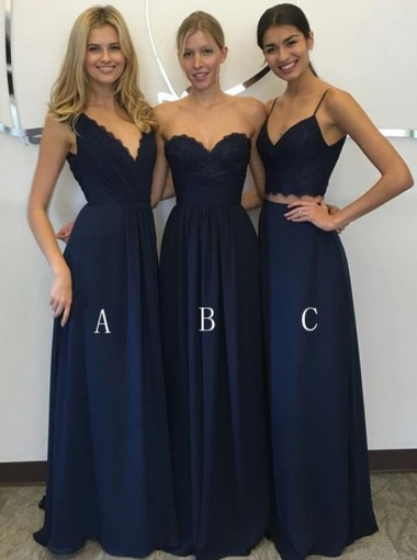 Two Piece Spaghetti Straps Floor-Length Navy Blue Chiffon Bridesmaid Dress