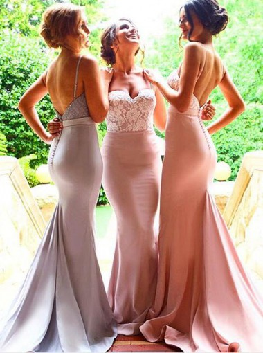 Decent Sweetheart Sweep Train Mermaid Pink Bridesmaid Dress with Sash Lace Spaghetti Straps